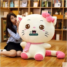 Dorimytrader 100cm Huge Lovely Soft Cartoon Cat Plush Pillow 39'' Cute Stuffed Nice Animal Cat Toy Kids Doll Present DY60387