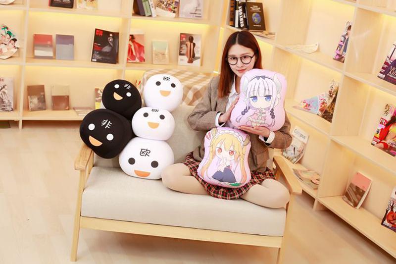 Miss Kobayashi's Dragon Maid Cosplay Kanna Kamui Plush Doll Toy Pillow Soft Cute Dragon Stuffed Cushion Gift Two-side 32x30cm (7)