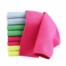 28x38cm Water Absorption Waffles Microfiber Cleaning Cloths Set Dish Towels Kitchen Scouring Pad Glass Washing Drying Mats 6P