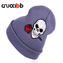 CRUOXIBB Warm Wool Winter Hat Women Knit Hats Girls Skull and Red Rose Cap Autumn Winter Fashion Beanies Casual Knitted Caps