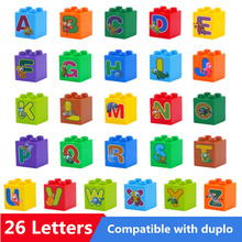 26pcs/lot Big Size Diy Building Blocks 26 Letters Brick Bulk Accessories Compatible Legoingly Duploed Toys Children