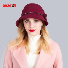 0926XB Women Wool Fedora Hat Ladies Bucket Hat Autumn Winter Noble European American Elegant Girls Fashion Cap XB-D618(China)