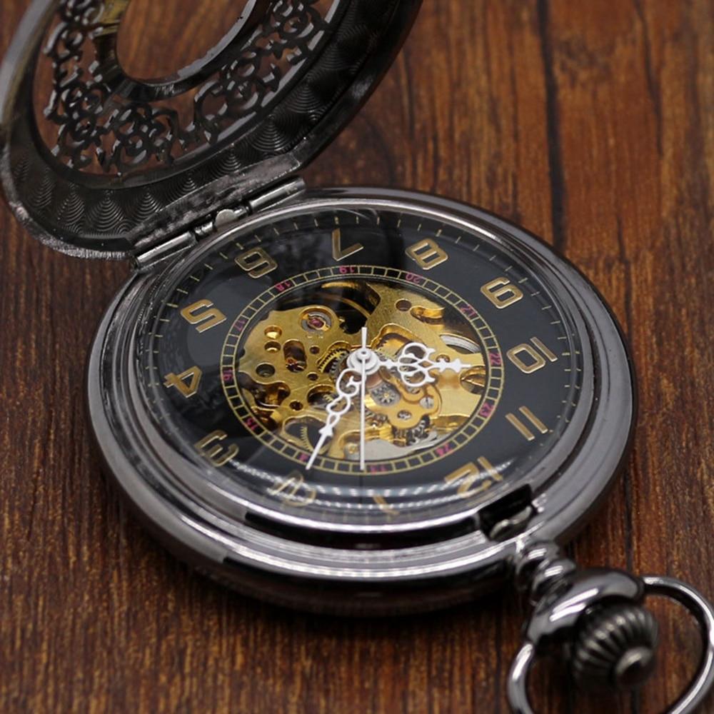 Hollow Stylish Gift Set for Mechanical Pocket Watch Set Men Women Black Steampunk Skeleton Watches Clock Gift Box Bad Chain (6)