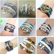 2016 New Arrival Mix retro Infinity Love Leather Love Owl Leaf Charm Handmade Bracelet Bangles Jewelry Friendship Gift Items