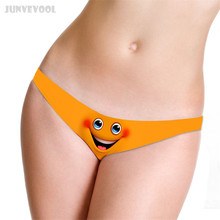 Buy Women Thongs G Strings Mini Shorts T Back 3D Cute Emoji Printed G-string Thong Women T-string Ladies Underwear Sexy