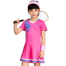 New Children's Tennis Badminton Dress Girls Breathable Quick-drying Summer Tennis Suit Sports Dress with Short Pants