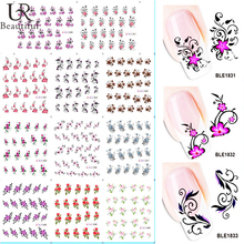 11 Designs in 1 Beauty Flower Design Nail Decals Water Transfer Nail Art Stickers Tips DIY Watermark Decorations BEBLE1830-1840