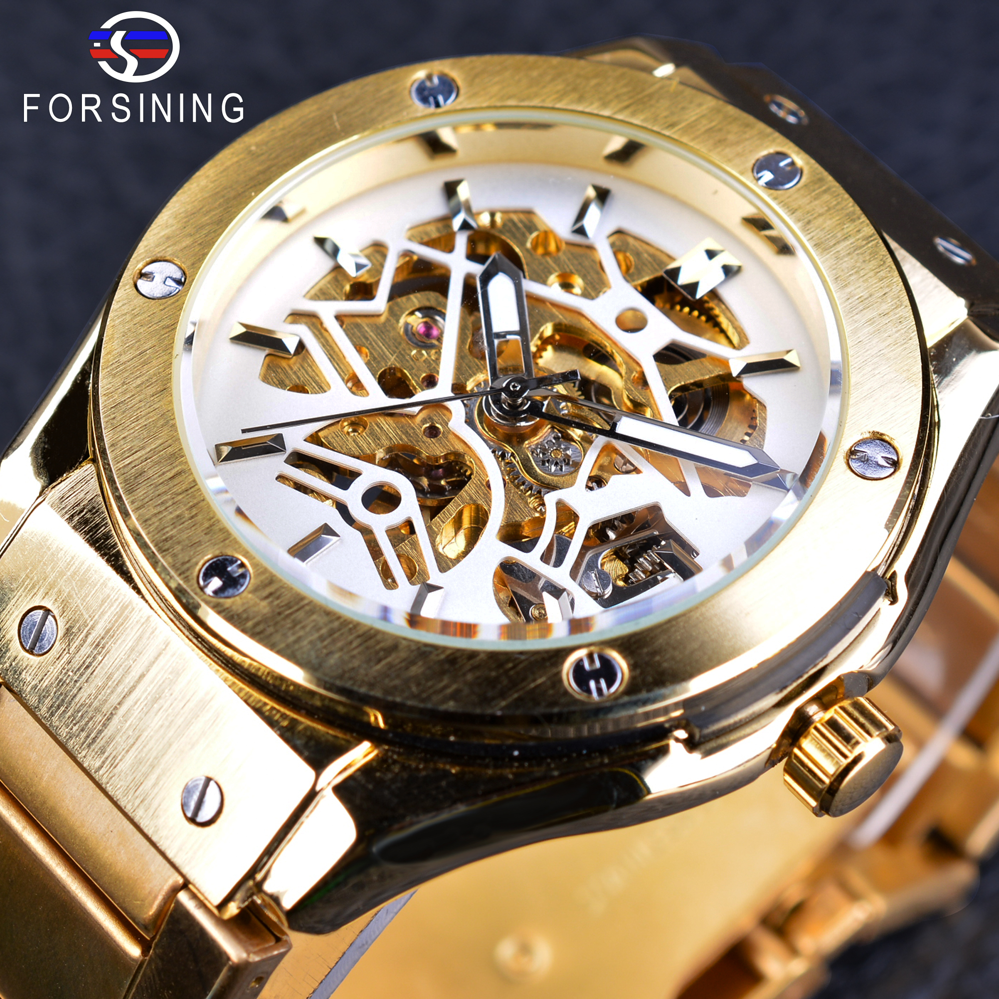 Forsining Golden Stainless Steel Sport Watch Steampunk Men Watch Luminous Openwork Mechanical Watches Folding Clasp with Safety<br>
