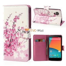 Pink Plum Magnetic Leather Wallet Handbag Book Cover Case For Flip LG Google Nexus 5 E980 D820 Mobile phone bagS shell NEXUS 5(China)