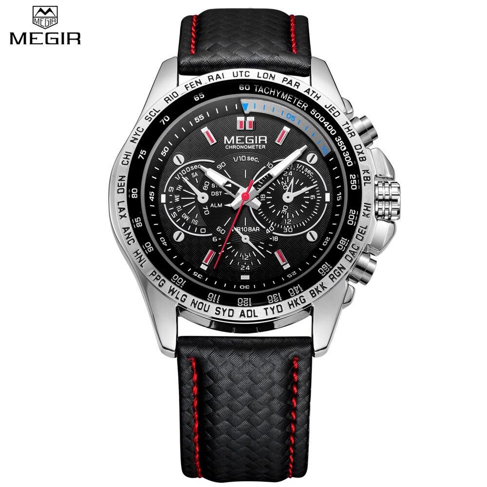MEGIR Luxury Brand Watch Mens Casual Watches Quartz-Watch Black Leather Sport Wristwatches Big Dial Male Waterproof ML1010<br><br>Aliexpress