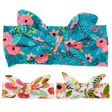 1PC Retro Vintage Baby Floral Headband Rabbit Hairbands Bow Knot Kids Children Elastic Turban Boys Girls Hair BandAccessories
