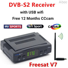 DVB-S2 Freesat V7 satellite Decoder Receiver+USB WIFI with cccam cline for 1 Year HD 1080p BISS Key Powervu satellite receiver