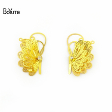 BoYuTe 10Pcs 25*40MM Brass Filigree Butterfly Charms 3 Colors Plated Diy Etched Sheet Pendant Charms for Earring Jewelry Making(China)