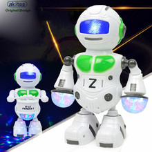 akitoo 1609 22*8*9cm Colorful Lights Music Dance Robot Model Drum Electric Space Robot Children early education Toys gift(China)