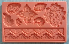 9 Patterns Beautiful Lace Shape 3D Border Trim Fondant Silicone Mold,Sugar Craft Cake Decorating DIY Mould Baking Tools(China)