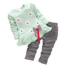 2pcs Children Sets Spring Fall Girls Suits Baby Kids Casual Long Sleeve Floral T-shirt and Plaid Long Pants