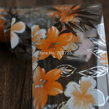 Fashion design nail transfer foil transfer film prompted decorative nail stickers Foil Orange Lily Flower YC439(China)