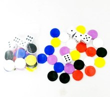 PLASTIC GAMES SET - 24 PIECES counter + 4 piece dice toy game  table Games Toys party  toy educational