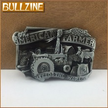 Bullzine wholesale blank American farmer belt buckle with pewter finish FP-02483-1 suitable for 4cm width belt free shipping(China)