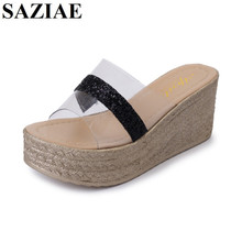[SAZIAE]Women Slippers Sandals Rubber Jelly Wedges Platform Sandals Metal Decoration Women Transparent Perspex Slippers Sandals