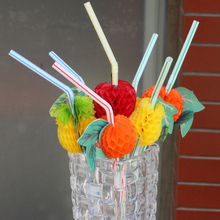 Free shipping 100PCS/Lot 3D Fruit Cocktail Paper Straws Umbrella Drinking Straws Party Decoration Color Assorted