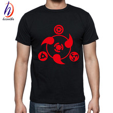 New Arrival 2017 Men's Anime Print T-shirts Homme Naruto Anime Tee Shirts Unisex Black Clothing Male  Fashion Tops Tee