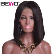 Beyo Hair 150% Density Short Bob Wigs For Black Women Brazilian Straight Hair Deep Parting Non-Remy Lace Front Human Hair Wigs(China)