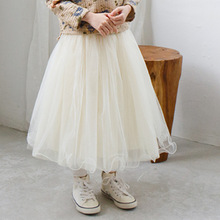 2017 New Arrival Children's Clothing Child Princess Little Girls Casual Tutu Puff Mid-Calf Long Kids Skirt Age 2-10, Beige/ Grey(China)