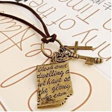 XL293 2015 New Fashion Shakespeare love letter cross leather cord necklace key retro sweater chain Jewelry Wholesale(China)