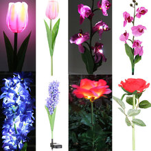 Solar LED Lily Flower Light Color Changing Energy Saving Lamps Outdoor Garden Path Yard Decor LED Flower Party Lamp 7A0194
