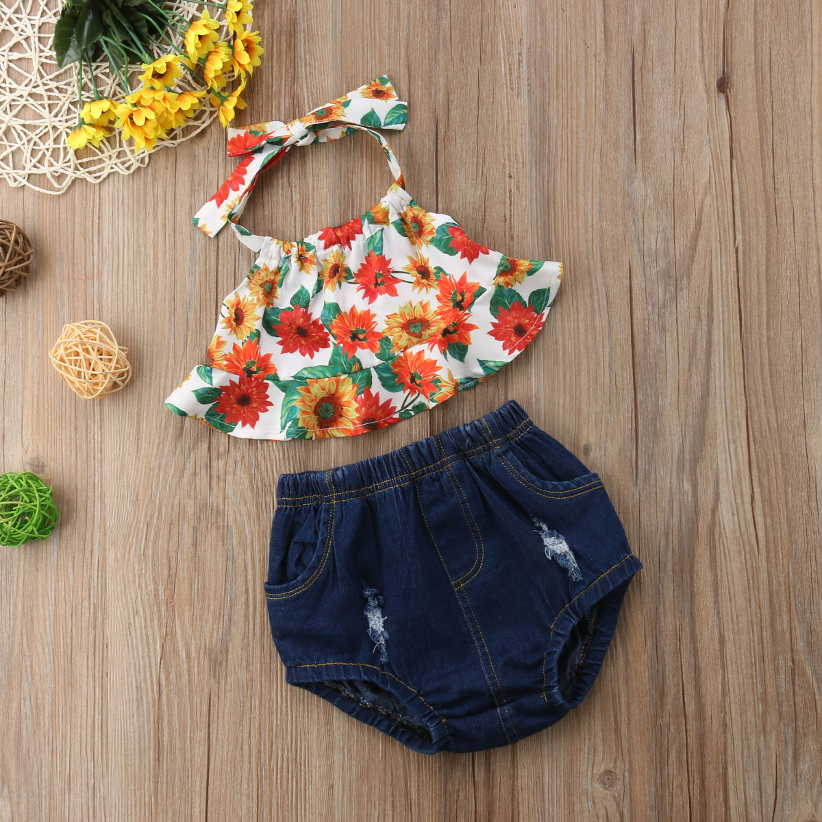 Summer Toddler Kid Baby Girl Clothes Sunflower Halter Tops+Pants 2PCS Outfit Set