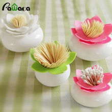 Creative Lotus Cotton Swab Case Container Toothpick Holder Storage Box Organizer Home Table Decor Sundries Storage Box Bins(China)