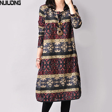 NIJIUDING Autumn and Winter Vintage Long Sleeve Printed Ethnic Loose Cotton 3 Colors Linen Women Dress M-XXL size