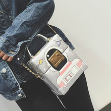 New Luxury Cute Robot Box Shaped Chain Clutch Bag Funny Party Evening Bag Mini Cell Phone Pouch Messenger Bag