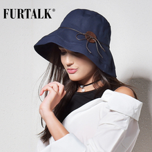FURTALK Women&Men Bucket Hat for Fishing Beach Cotton Hat Summer Hats for Women Fashion Design Foldable Brimmed(China)