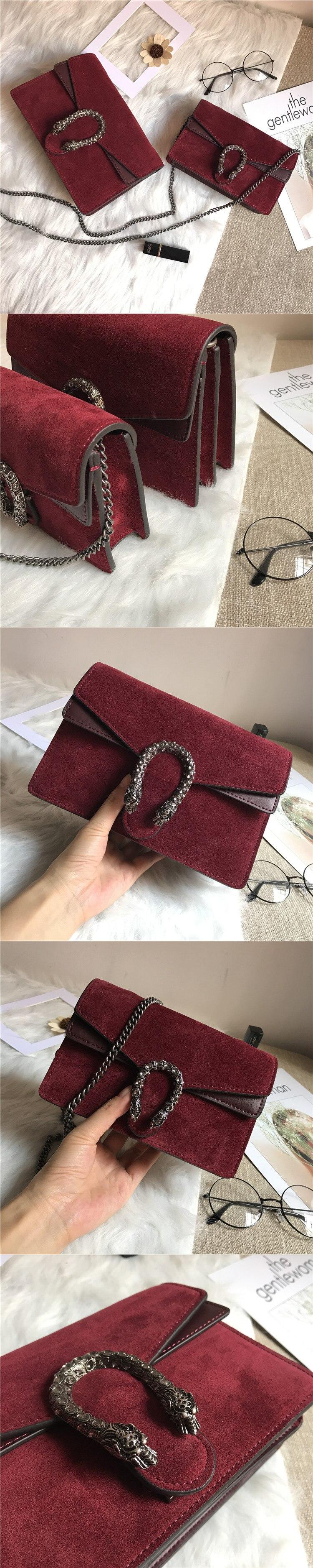 Fashion Chic Designer Handbag Women Dionysus Suede and Leather Shoulder Bag (3)