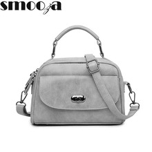 SMOOZA High Quality Numbuck Leather hand bag Women Top-Handbag Fashion lock Women Shoulder Bag Shell Stlye Women Bag