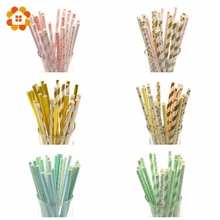 25PCS/Lot Multicolor Design Paper Straws For Birthday Wedding Baby Shower Decoration Party Supplies Creative Drinking Straws