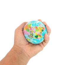 New 1Pc Foam Rubber Ball Toy World Map Foam Earth Globe Hand Wrist Exercise Stress Relief Squeeze Soft Foam Ball(China)
