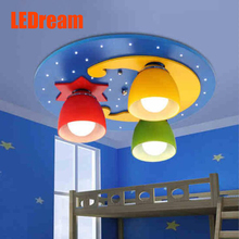 LED children room bedroom absorb dome light Creative leaves round the lamp Boys and girls room lamps and lanterns
