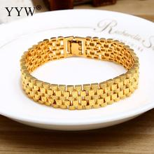 Big Luxury Men's Bracelet & Bangle Gold-Color Jewelry Wristband 15mm Chunky Big Chain Bracelets Bangles Men's Fathers Day Gifts