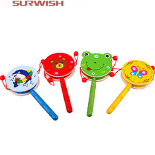 Surwish Baby Shaking Rattle Cartoon Wooden Hand Bell Drum Kids Educational Toy for Children Gifts Present Boys- Random Delivery(China)