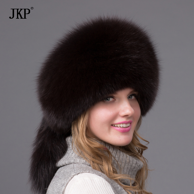 Hot Sale Real Fox Fur Hat for women winter Fox fur beanies cap with fox fur 2017 Solid New thick female cap Bomber Hats HJL-06X