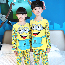 New Listing Pattern Autumn Children Pajamas Mujer Long Sleeve sleepwear Thin Lovers Cartoon Lovely Kids Boys Girl Home Clothing(China)
