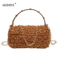 Winter Spring Fashion Women Faux Lamb Wool Chain Handbag Women Cylinder  Shoulder Bags Female Handbags c5838cf58bf71