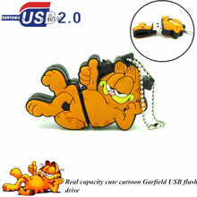 cute Lying Garfield Pen drive cartoon animal U Disk usb flash drive Memory Stick real capacity 4GB 8GB 16GB 32GB metal chain