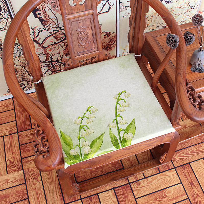 Ink Painting Lotus New Chinese Style Vintage Mahogany Chair Cushion Sofa  Cushion Seat Cushion Thickening Sponge