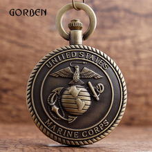 Retro United States Marine Corps Theme Pocket Watches Necklace Chain Pendent engraving Pocket fob watches Men Relogio De Bolso