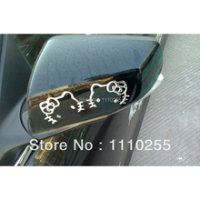 3D Hello Kitty Car Stickers decal Funny Car Decoration for Volkswagen skoda polo golf renault Nissan Benz Toyota Chevrolet Lada(China)