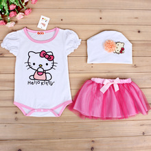 New Arrived Spring Custom Girls Princess Hello Kitty Dress Kids SET Vestidos Baby Children Summer Dresses Pincess Kids Dresses